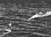 The crew in the dinghies awaiting rescue. W/O J.R.Bristow is in the closer dinghy on the left hand side