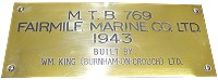 Maker's Plaque from Motor Torpedo Boat 769